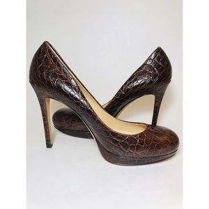 Ann Taylor Embossed Brown Leather Platform Heel 8